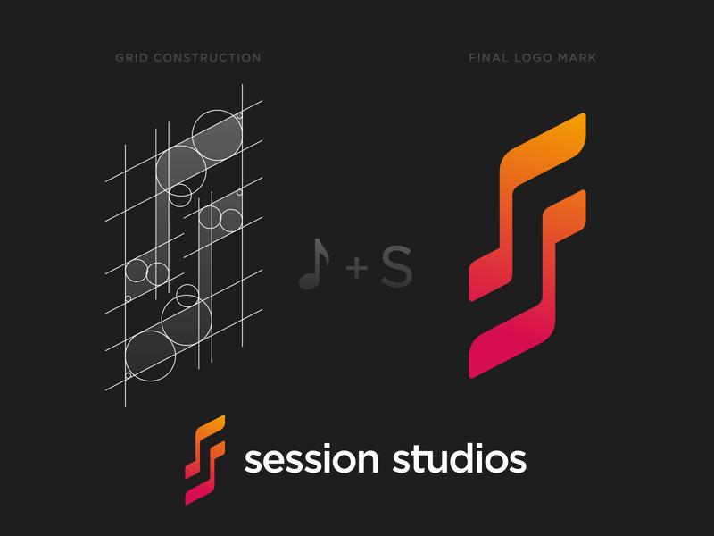 Session Studios Logo Construction construction grid s musical note music gradient branding brand identity design logo minimal clean