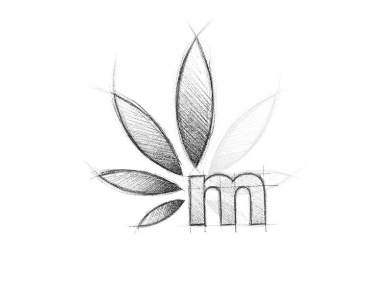 Maconha - Logo Design Sketch branding m leaf cannabis brand identity sketch design logo minimal clean
