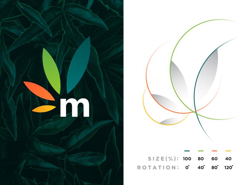 Maconha - Logo Construction leaf gradient grid branding brand identity design logo minimal clean