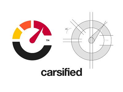 Carsified - Logo Construction speedometer cars car grid construction branding brand identity design logo minimal clean