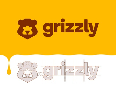 Grizzly - Logo Construction healthy nature honey bear grid branding brand identity design logo minimal clean