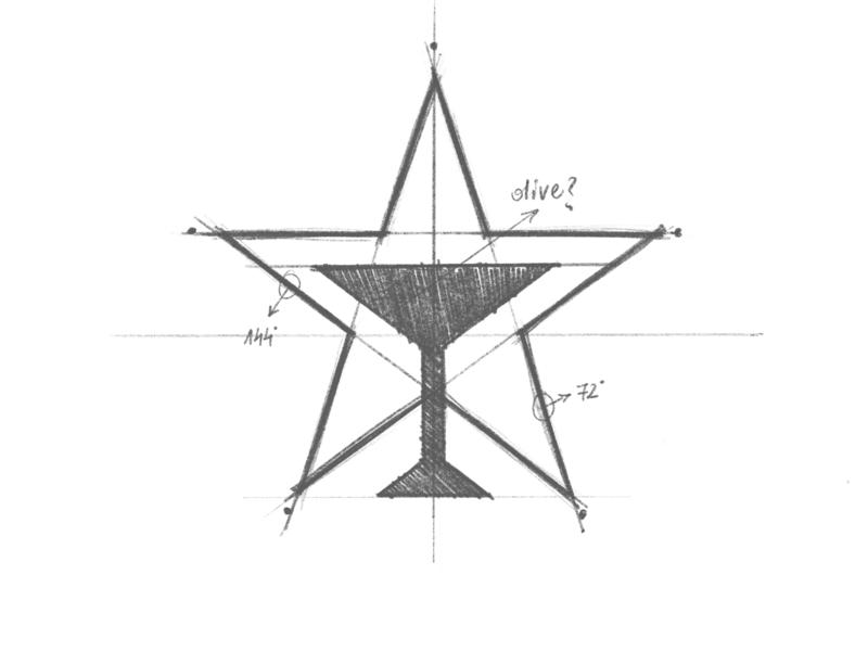 Startender - Logo Design Sketch drawing sketch glass martini bartender star branding brand identity design logo minimal clean