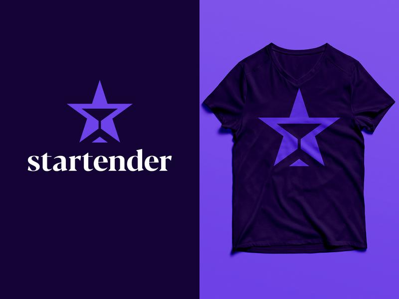 Startender - Logo Design serif art t-shirt purple alcohol star bartender bar martini branding brand identity design logo minimal clean