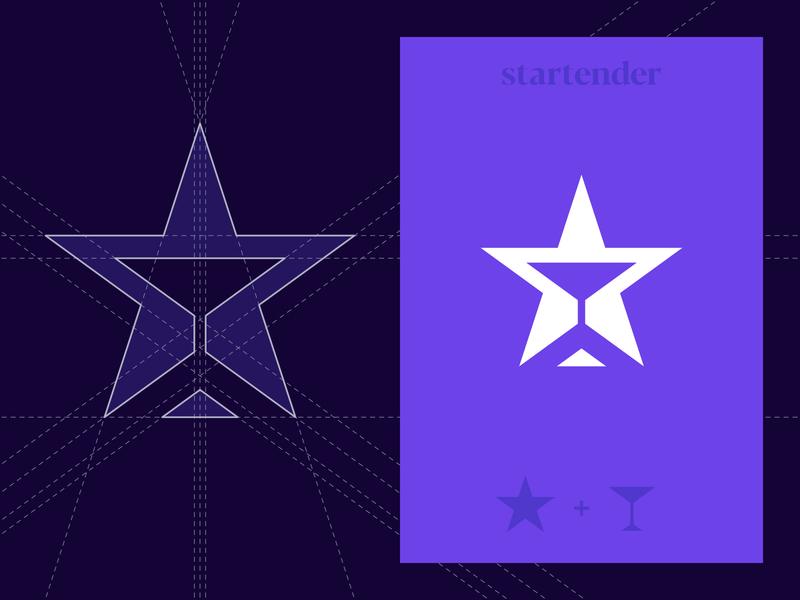 Startender - Logo Construction geometry grid clean minimal logo design brand identity branding martini bar bartender star alcohol purple t-shirt art serif