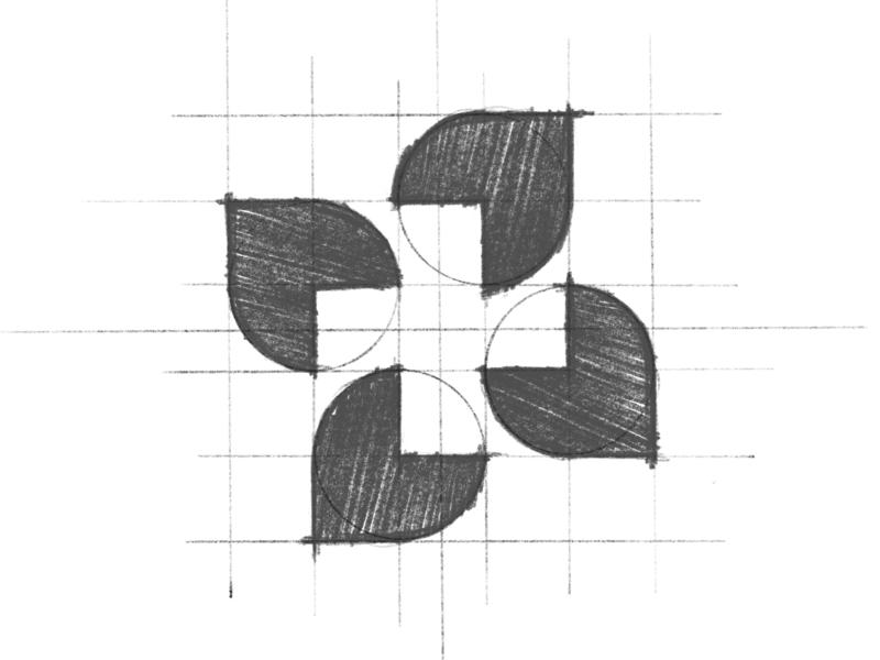 Atena - Logo Design Sketch branding brand identity design logo minimal clean procreate sketch grid wellbeing wellness cross health nature leaf