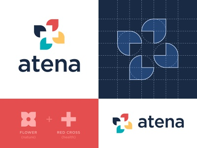 Atena - Logo Design construction branding brand identity design logo minimal clean procreate sketch grid wellbeing wellness cross health nature leaf red blue green yellow