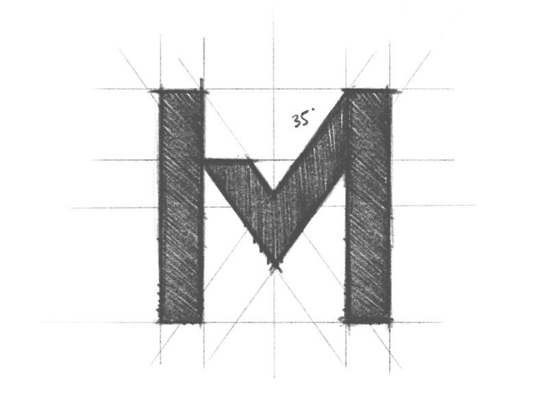 Marked - Logo Design Sketch clean minimal logo design brand identity branding pencil sketch grid m checkmark tattoo ink