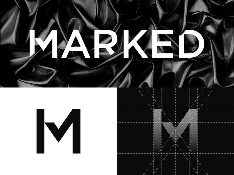 Marked - Logo Design check black ink tattoo checkmark m grid branding brand identity design logo minimal clean