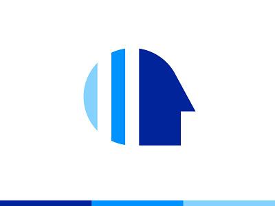 Mindscan - Logo Symbol intelligence test iq brain mind face blue branding brand identity design logo minimal clean
