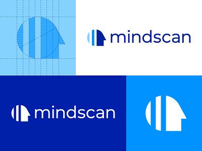 Mindscan - Logo Design clean minimal logo design brand identity branding blue face mind brain iq test intelligence