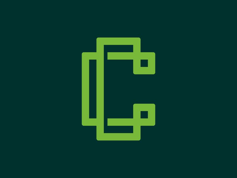 Computis - Logo Symbol green clean minimal logo design brand identity branding grid cryptocoin cryptocurrency bitcoin c blockchain