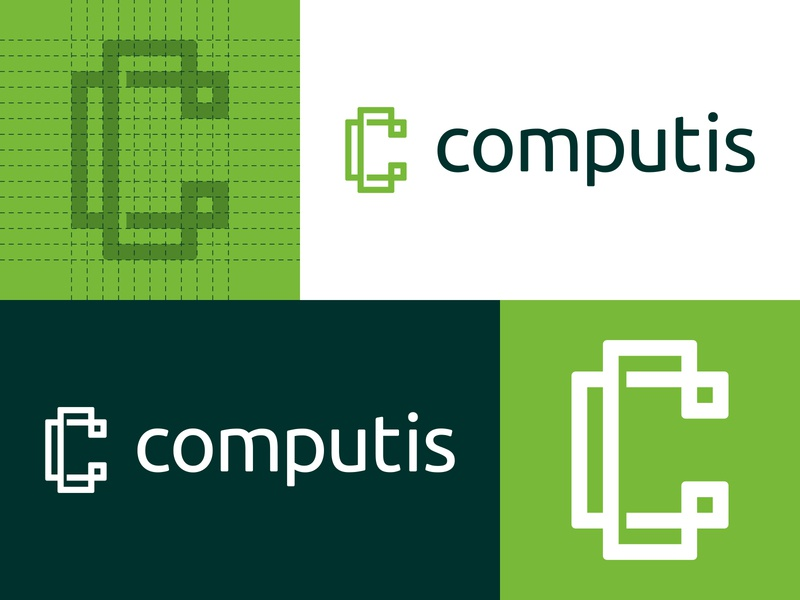 Computis - Logo Design blockchain c bitcoin cryptocurrency cryptocoin grid branding brand identity design logo minimal clean green