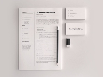 Resume CV and Simple Business Card minimal business template word curriculum business card resume cv resume