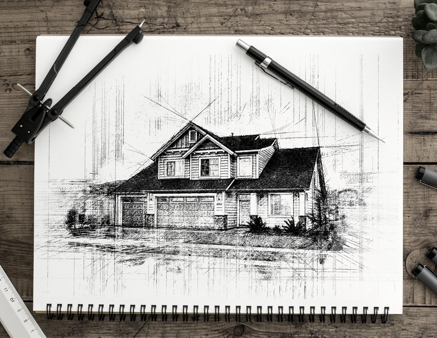 36 pencil sketch automatic architecture art artwork brush real realistic fx photoshop action script