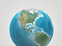 Preview earth illustrated 3d world cinema4d 3ds obj globe planet realistic polygons photoshop
