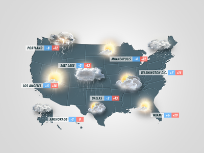 Small professional weather icons set infographics psd design