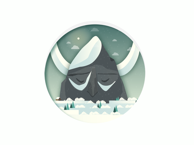 Ullr The God Of Winter motiondesign animation illustration winter montain simple vector landscape