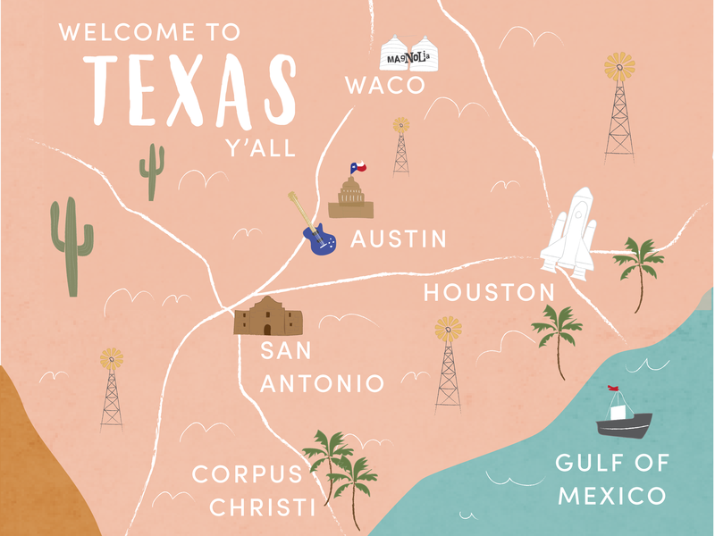 Welcome to Texas Y'all! wedding invitation yall waco austin cactus illustration map texas