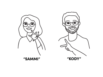 My name is Sammi and this is my sign name name learn wedding illustration asl deaf