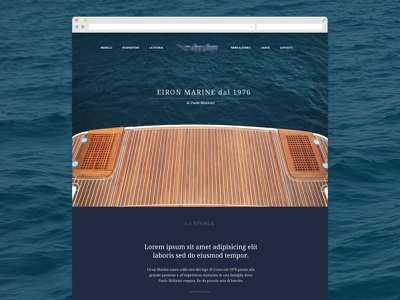 Marine homepage layout webdesign boat yacht blue big photography sea