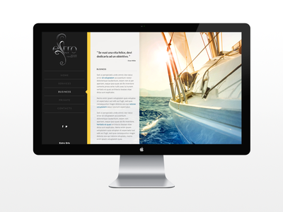 Estro Management Website web design layout background side navigation menu yacht sea apple mac webdesign