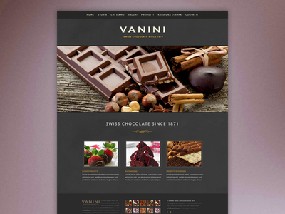 Swiss Chocolate design chocolate factory layout webdesign dark yummy sweet brown warm grey greyscale web site