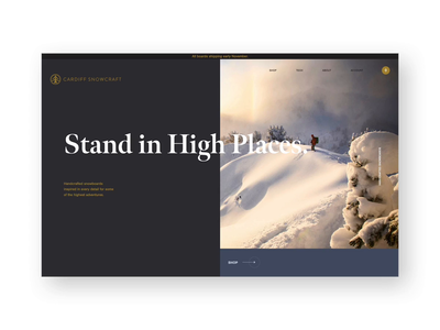 Cardiff Snowcraft Home snowboarding winter snowboard animation ui ux website layout design sports ecommerce