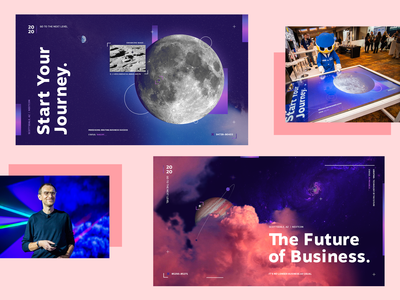 Nextcon 2019 Animated Table planets moon event pink purple clouds corporate space typography branding design illustration