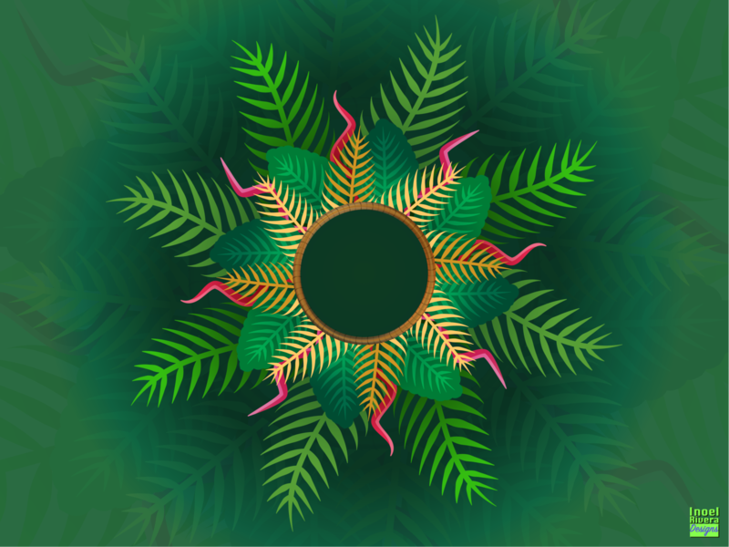 Tropical Christmas Wreath figuros illustrator conceptual design adobe illustrator illustration palm leaf plants leaves leaf tropical holiday wreath christmas holiday design christmas design christmas wreath