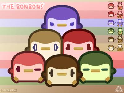 Meet The Bonbons! desserts colorful pangwich figuros designeroos 2d character 2d art 2d art vector art vector illustration design illustration art illustrations illustration chibi kawaii art kawaii bonbons bonbon