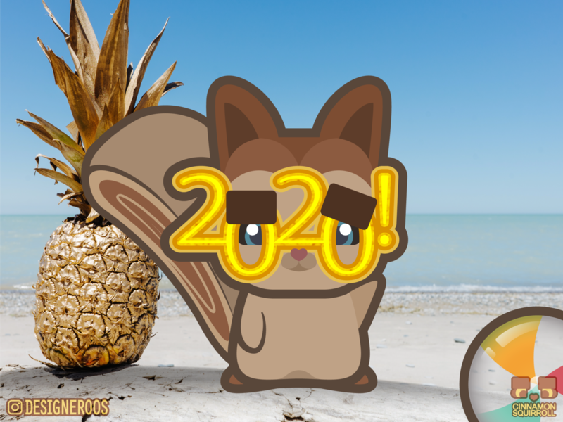 Cinnamon Squirroll New Years 2020 adorable cute art cute tropical happy new year new year 2020 2020 new year art illustration illustrator 2d character 2d art 2d chibi kawaii art kawaii squirrels squirrel cinnamon