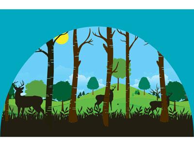Dear Deer sun wildlife freedom deer grass hills trees forest illustration