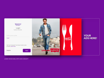 Yahoo! Mail login page with ads concept