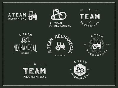 Mechanical brand process typography texas type sketch seal process branding logo exploration mechanical