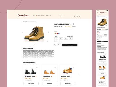 Product Description Page for an E-Commerce Website design ecommerce web design graphic design ui