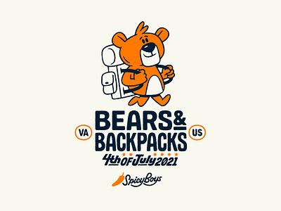 Bears & Backpacks cartoon bear branding lettering texture typography illustration graphic design