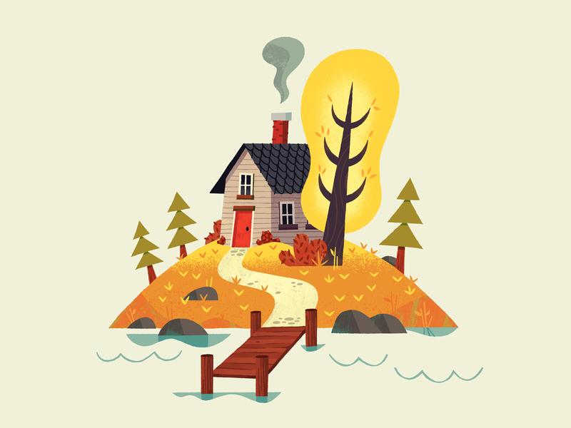 Autumn House art print house autumn design graphic texture illustration