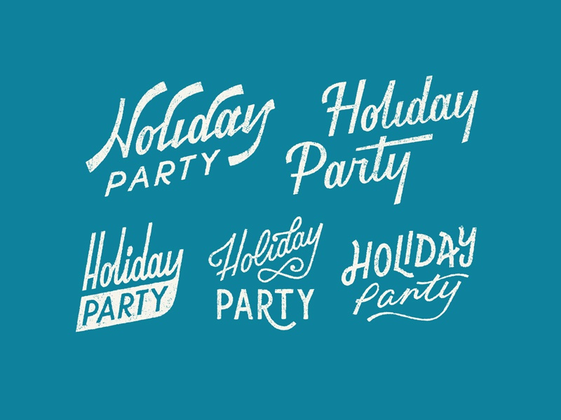 Holiday Party logo lettering typography graphic design