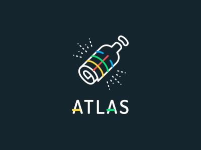 ATLAS Logo atlas app bottle map discover explore social rolfsen drink shadz lines web