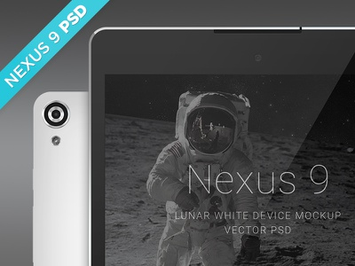 Nexus 9 Lunar White Mockup nexus 9 device mockup free psd download landscape portrait front back tablet