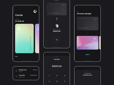 mint dark app simple clean mobile application ui interface minimal bn digital brandnew