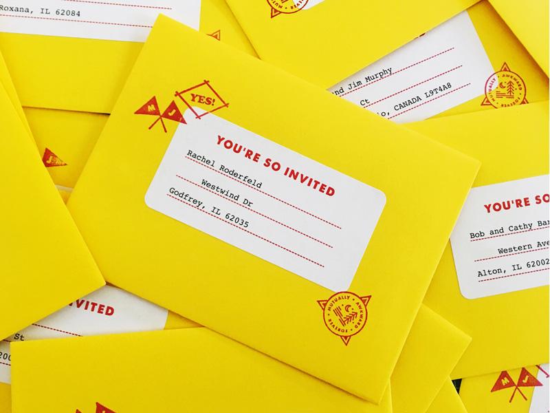 Wedding envelopes! address badge camp flags address label yellow invite wedding stamps envelopes