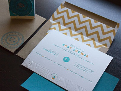 Baby Shower Invites invitation letterpress 2 color blind emboss wood grain chevron baby baby shower baby boy stamp seal card envelope print futura bird pattern typography teal mustard zig zag invite kraft vector arrow sentinel sackers gothic