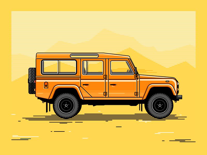 Land Rover Defender illustration 4x4 off-road car jeep defender land-rover
