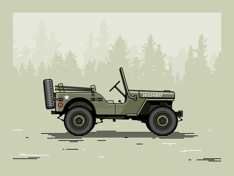 Willys MB car army illustration off-road 4x4 jeep mb willys