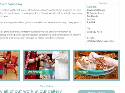Grand Openings website ui wedding parties contact london clean blue gallery
