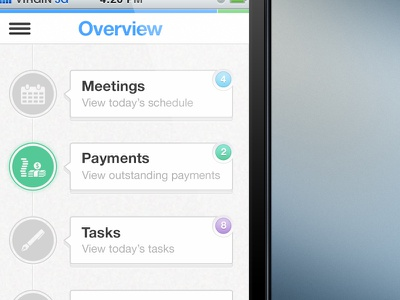 FanStatstic Dashboard ui mobile ios iphone fanstatstic meetings payments tasks overview dashboard
