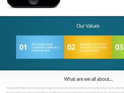 Eight and Half Minutes ui website design values blue yellow green white iphone about