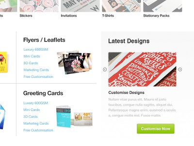Customise Now website design ui clean latest flyers leaflets greeting cards business cards stationary
