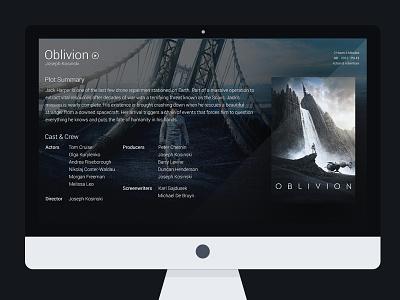 Oblivious ui dark media centre movie preview film oblivion details full screen